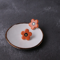 Porcelain orange daisy earrings