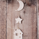 "White and Gold ""By The Moonlight "" Ceramic Garland, Hanging Decoration"