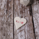 Porcelain Love Heart  hanging decoration
