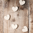 White Love Heart Porcelain Garland