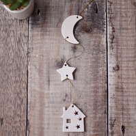 "White and Copper ""By The Moonlight "" Ceramic Garland, Hanging Decoration"