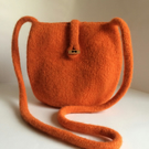 Orange, felted wool cross body bag