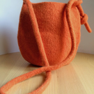 Orange sunshine felted wool cross-body bag