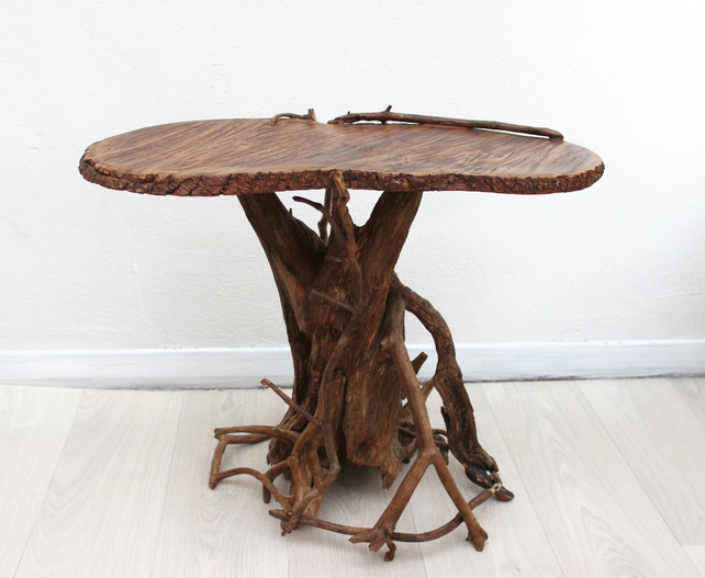 Coffee table driftwood oak furniture folksy for Driftwood tables handmade