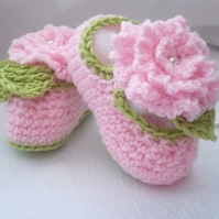 Pink and Green Baby Booties.
