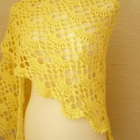 Yellow Triangular Shawl--Sunshine