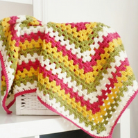 Granny Square Baby blanket in colours of Pink Green Cream and Saffron Yellow