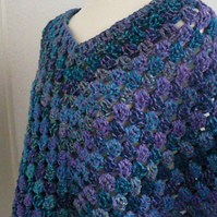 Shades of Teal Green and Purple Poncho