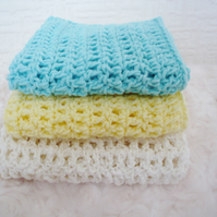 Three cotton Wipes-Lemon,Cream and Mint Green