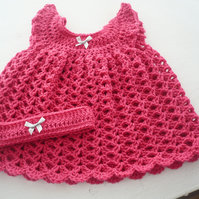 Pomegranate Pink Newborn Dress and Hairband for a Baby Girl
