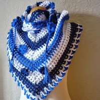 Womens Scarf Shawl,Road trip scarf in shades of Blue and White.