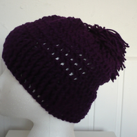 Womens Crochet Beanie in colour Amethyst Purple