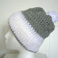 Womens Beanie Crocheted in colours White and Grey