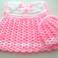 Baby Dress and Hat to match in colours Pink and White for a little girl