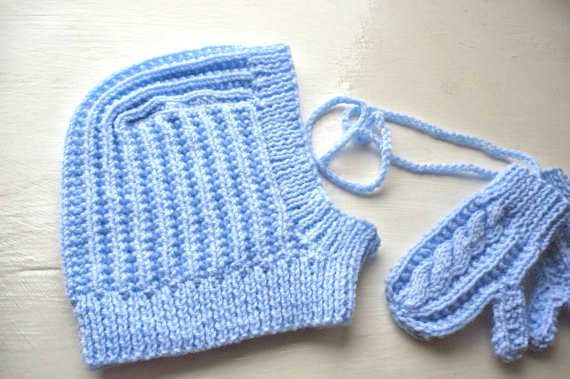 Boys,Knitted Balaclava Hat and Matching Blue Gloves with cord for age 1-2 Years