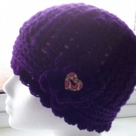 Womens Beanie Hat in the colour Dark Purple