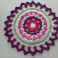 Table Mat Mandala Center Piece Crochet Doily Size 12""