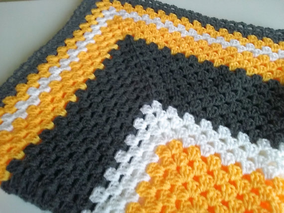 Baby Blanket Crocheted in colours Gun metal grey, Sunshine yellow, and White