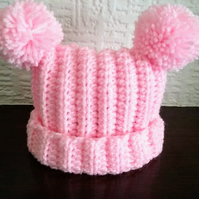 Pink baby hat with pom poms 0-3 months