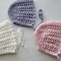 Lovely little Baby hat Bonnet in Three colours 0-3 Months