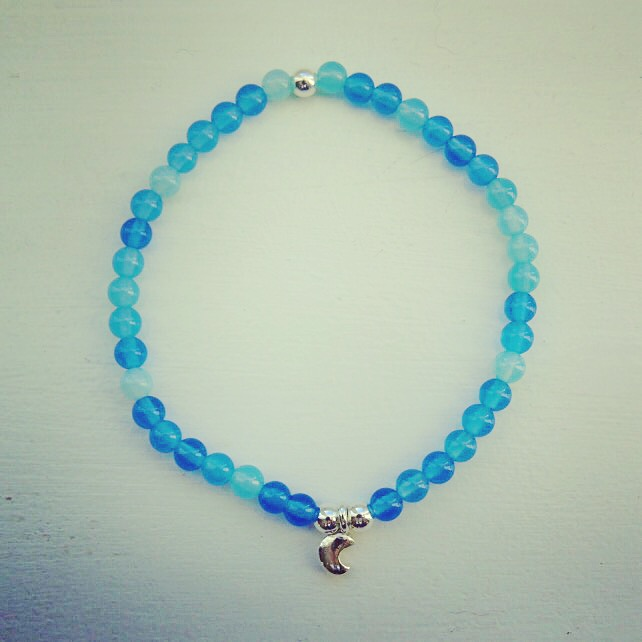 Blue onyx and moon charm bracelet