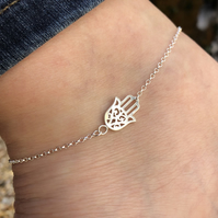 Hamsa Hand sterling silver anklet 10 to 11 inches