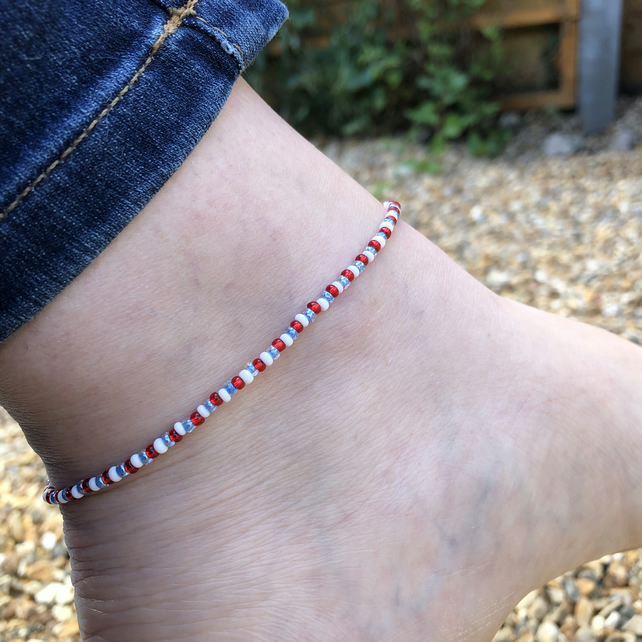 Red White and Blue Seed bead and sterling silver anklet
