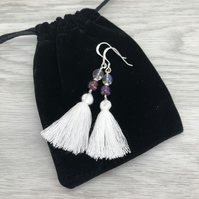White and purple tassel earrings. Sterling silver