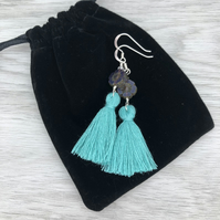 Turquoise and purple tassel earrings. Sterling silver