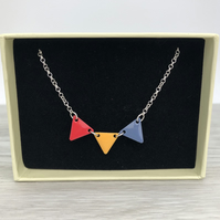 Enamel bunting necklace. Sterling silver.