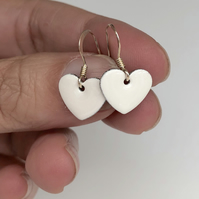 White enamel heart charm, sterling silver earrings