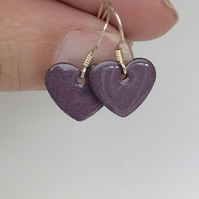 Purple enamel heart charm, sterling silver earrings