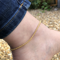 Seed bead and sterling silver anklet