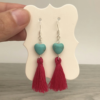 Turquoise and tassel sterling silver earrings