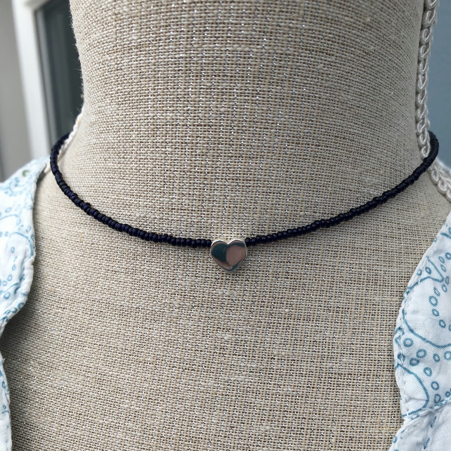 Navy blue seed bead choker with sterling silver heart.