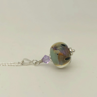 Lampwork glass pendant on adjustable chain. Sterling silver.