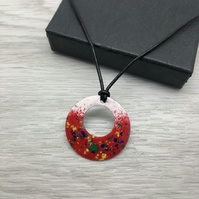 Geometric enamel and leather necklace. Circle necklace.