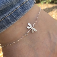 Dragonfly Sterling Silver anklet 10 to 11 inches