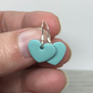 Turquoise enamel heart charm, sterling silver earrings