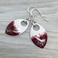 Red, white and glitter enamel scale earrings. Sterling silver.
