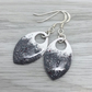 Grey, white and glitter enamel scale earrings. Sterling silver.