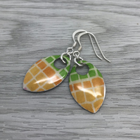 Decoupage and enamel scale earrings. Sterling silver.