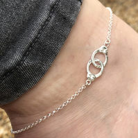 Handcuffs Sterling Silver anklet. Various sizes.