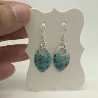 Turquoise enamel scale earrings. Sterling silver.