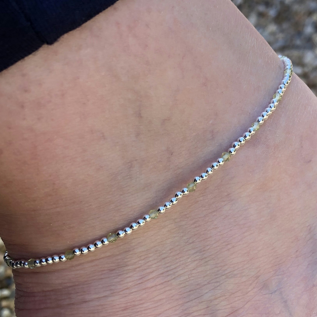 Sterling silver and peridot beaded anklet