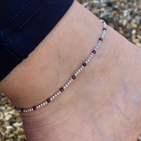 Sterling silver and garnet beaded anklet