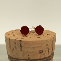 Sterling Silver Hand Enamelled Stud Earrings. Dark red stud earrings.