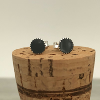 Sterling Silver Hand Enamelled Stud Earrings. Dark grey stud earrings.