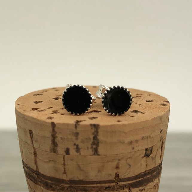 Sterling Silver Hand Enamelled Stud Earrings. Black stud earrings.