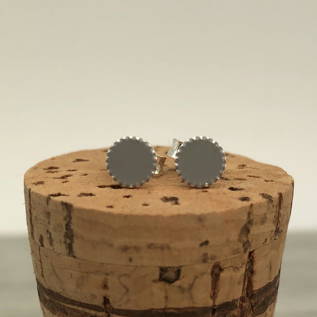 Sterling Silver Hand Enamelled Stud Earrings. Pale grey stud earrings.